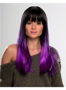 22 Inch Straight Capless Purple Indian Remy Hair Ombre Wigs