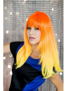 20 Inch Straight Capless Orange to Yellow Indian Remy Hair Ombre Wigs
