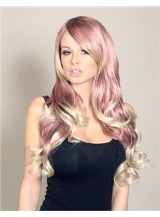 22 Inch Wavy Lace Front Pink to Blonde Indian Remy Hair Ombre Wigs
