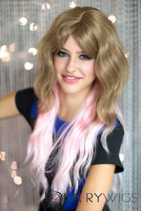 22 Inch Wavy Lace Front Blonde And Pink Top Quality High