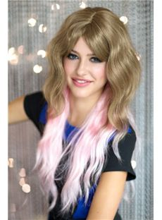 22 Inch Wavy Lace Front Blonde and Pink Top Quality High Heated Fiber Ombre Wigs