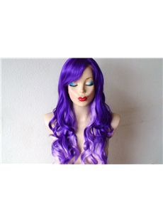 26 Inch Wavy Capless Purple Synthetic Ombre Wigs