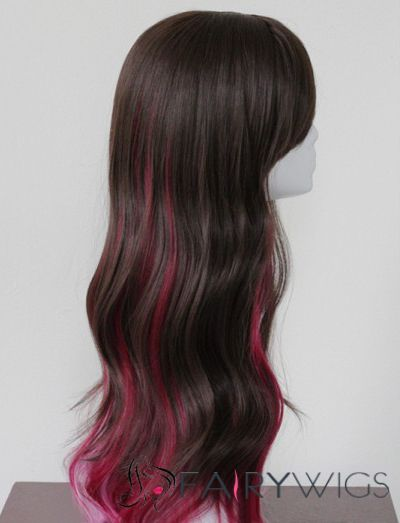 30 Inch Wavy Lace Front Red and Pink Top Quality High Heated Fiber Ombre Wigs