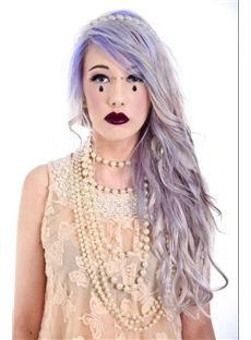 24 Inch Wavy Lace Front Gray Top Quality High Heated Fiber Ombre Wigs