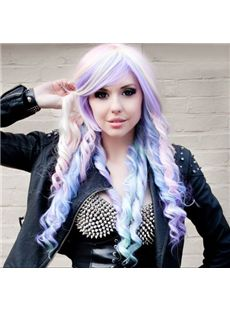 24 Inch Wavy Lace Front Purple Top Quality High Heated Fiber Ombre Wigs