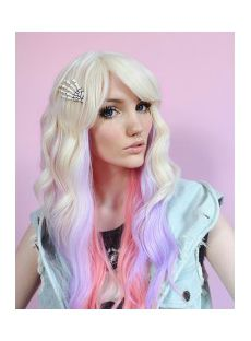 28 Inch Wavy Lace Front Pink Top Quality High Heated Fiber Ombre Wigs