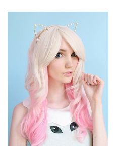 Mixed White Pink Lace Front Top Quality High Heated Fiber Ombre Wigs