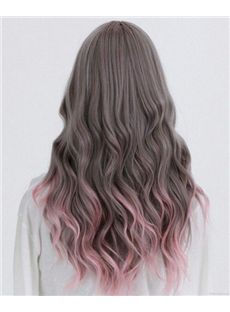 Wavy Brown to Pink Lace Front Ombre Wigs