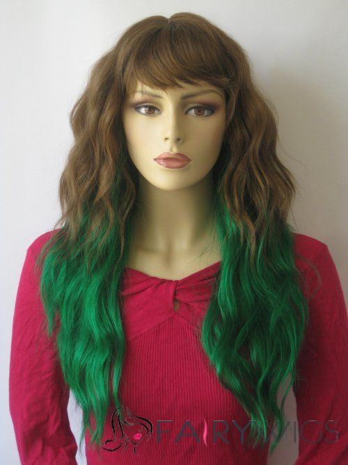 24 Inch Wavy Lace Front Green Top Quality High Heated Fiber Ombre