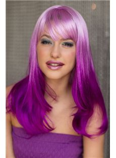 18 Inch Wavy Capless Purple Indian Remy Hair Ombre Wigs
