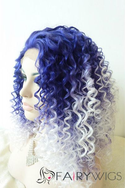 16 Inch Curly Capless Purple Indian Remy Hair Ombre Wigs