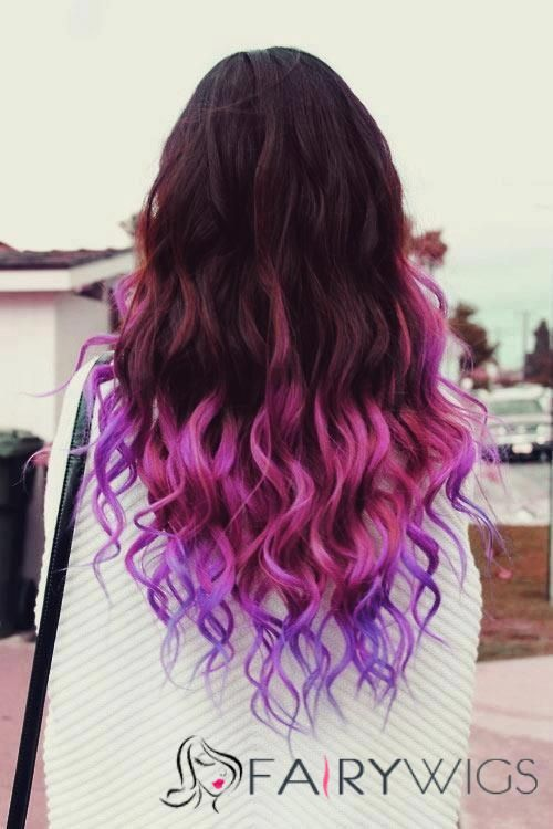 22 Inch Wavy Full Lace Black to Purple 100% Indian Remy Hair Ombre Wigs