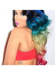 22 Inch Wavy Lace Front Colorful 100% Indian Remy Hair Ombre Wigs