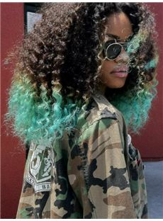 16 Inch Curly Lace Front Green Indian Remy Hair Ombre Wigs