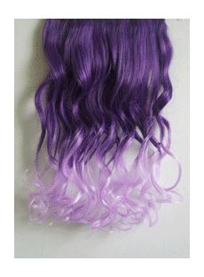 18 Inches Wavy Deep Purple to Thistle Synthetic Ombre Hair Extensions