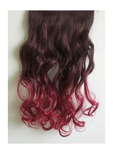 18 Inches Wavy Black Red to Winered Synthetic Ombre Hair Extensions