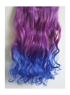 18 Inches Wavy Deep Purple to Purplish Blue Synthetic Ombre Hair Extensions