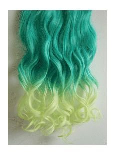 18 Inches Wavy Blatic to Herb Green Synthetic Ombre Hair Extensions