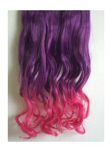 18 Inches Wavy Deep Purple to Purplish Red Synthetic Ombre Hair Extensions