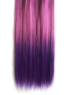 18 Inches Straight Purplish Red to Dark Blue Synthetic Ombre Hair Extensions