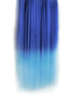 18 Inches Straight Deep Sea Blue to Sky Blue Synthetic Ombre Hair Extensions