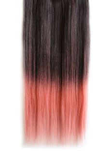 18 Inches Straight Dark Gray to Cigarette Pink Synthetic Ombre Hair Extensions