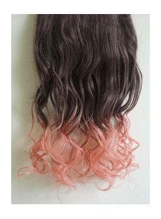 18 Inches Wavy Dark Gray to Cigarette Pink Synthetic Ombre Hair Extensions