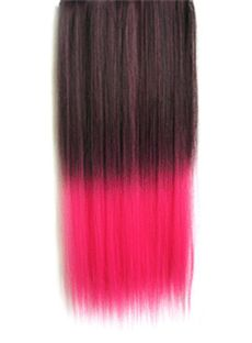 18 Inches Straight Black to Purplish Red Synthetic Ombre Hair Extensions