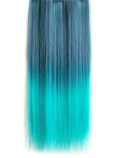 18 Inches Straight Dark Blue to Peacock Green Synthetic Ombre Hair Extensions