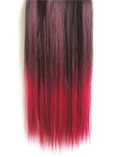 18 Inches Straight Black Red to Winered Synthetic Ombre Hair Extensions