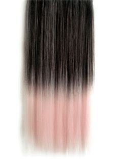 18 Inches Straight Dark Gray to Ginger Synthetic Ombre Hair Extensions