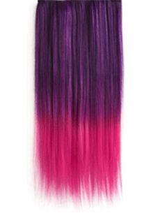 18 Inches Straight Violet to Purplish Red Synthetic Ombre Hair Extensions