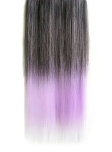 18 Inches Straight Grayish Purple to Thistle Synthetic Ombre Hair Extensions