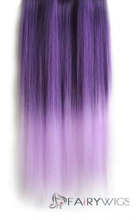 18 Inches Straight Deep Purple To Thistle Synthetic Ombre