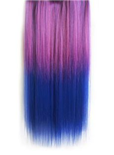18 Inches Straight Purplish Red to Purplish Blue Synthetic Ombre Hair Extensions