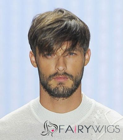 6 Inch Black Straight Capless Indian Remy Hair Mens Wigs