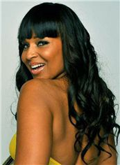 22 Inch Black Capless Indian Remy Hair African American Lace Wigs