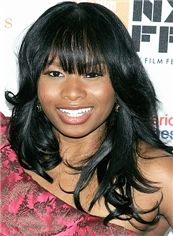 20 Inch Black Capless Indian Remy Hair African American Lace Wigs