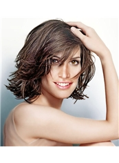 Indian Remy Sepia Short Wavy Capless Wigs 150% Density