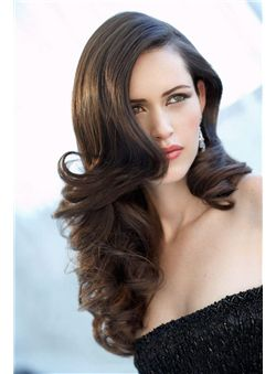 22 Inch Black Wavy Full Lace 100% Indian Remy Hair Wigs