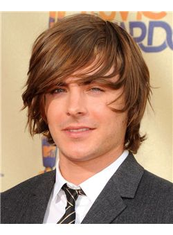 12 Inch Brown Capless 100% Indian Remy Hair Mens Wigs