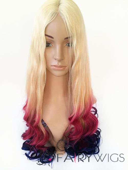 30 Inches Wavy Gradient Color Human Hair Ombre Wigs