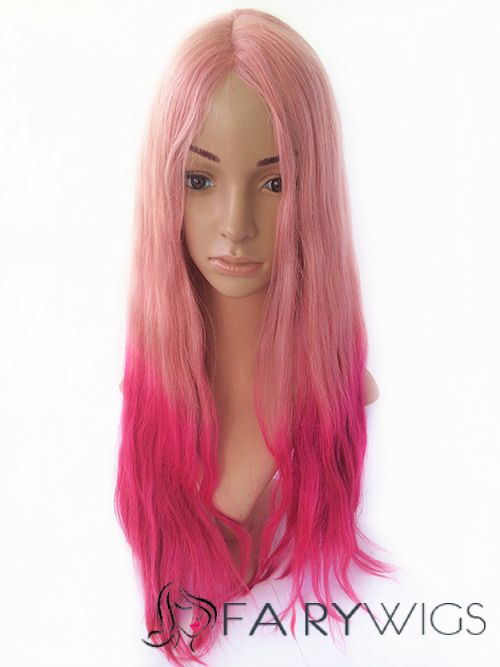 24 Inches Straight Blonde To Pink Human Hair Ombre Wigs