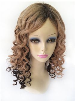 24 Inches Wavy Blonde to Black Human Hair Ombre Wigs