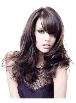 (Fast Shipping) 100% Human Hair Black Medium Wigs 18 Inch Capless Wavy