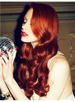 (Fast Shipping) Human Hair Red Long Wavy Lace Front Wigs