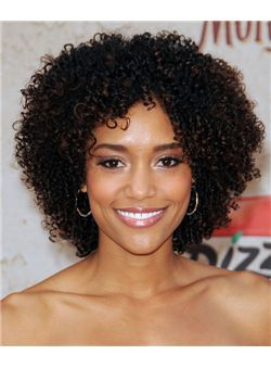 (Fast Shipping) Dainty Short Curly Sepia African American Lace Wigs for Women