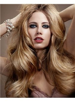 (Fast Shipping) Elegant Cheap Full Lace Long Wavy Blonde 100% Indian Remy Hair Wigs