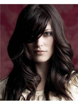 (Fast Shipping) Pretty Lace Front Long Wavy Black Real Human Hair Wig