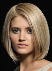 14 Inches Blonde Lace Front Indian Remy Hair Wigs